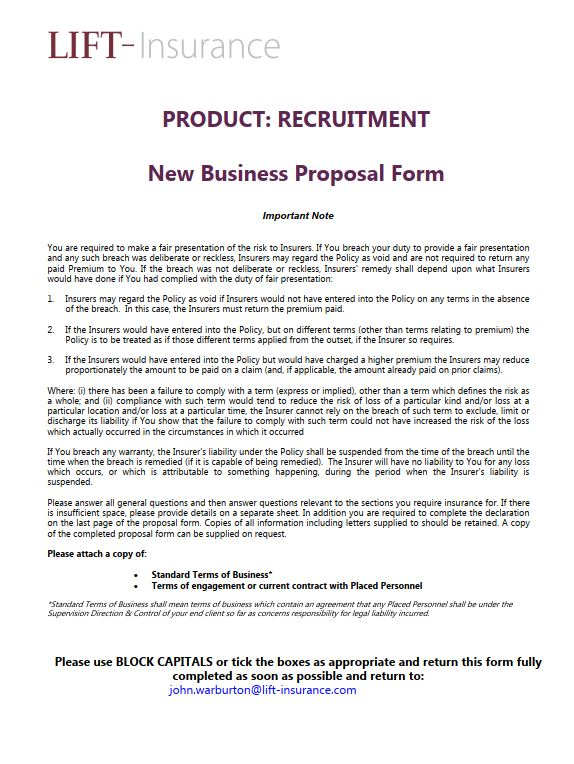 Recruitment Proposal Form